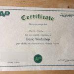 Alternatives to violence certificate